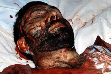 پیکر شهید صیاد شیرازی پس از شهادت